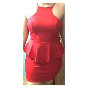 Red Mini Peplum Dress